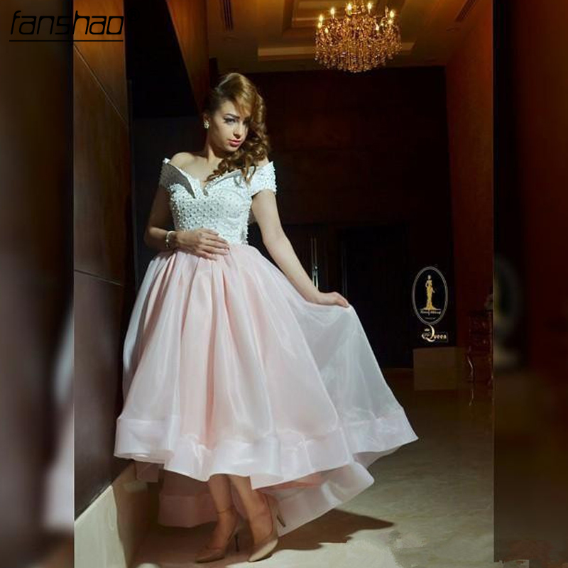 Pink Evening Dresses 2019 A-line Off The Shoulder Tulle Pearl Islamic Dubai Saudi Arabic Long Elegant Prom Evening Gown