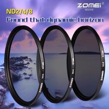 Комплект фильтров для объектива Zomei ND ND2 + ND4 + ND8, 52 мм, 58 мм, 62 мм, 67 мм, 77 мм, 82 мм для объектива камеры Canon, Nikon, Sony