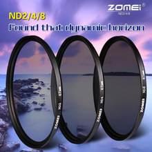 Zomei kit de lentes de filtro de densidade neutra, lente de filtro de densidade nd2 + nd4 + nd8 52mm 58mm 62mm 67mm 77mm 82mm para canon nikon sony lente da câmera
