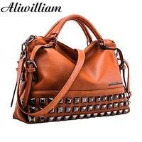 New Rivet Women Leather Handbags Vintage Woman Bags 2015 Bag Handbag Fashion Handbags Women Shoulder Bags