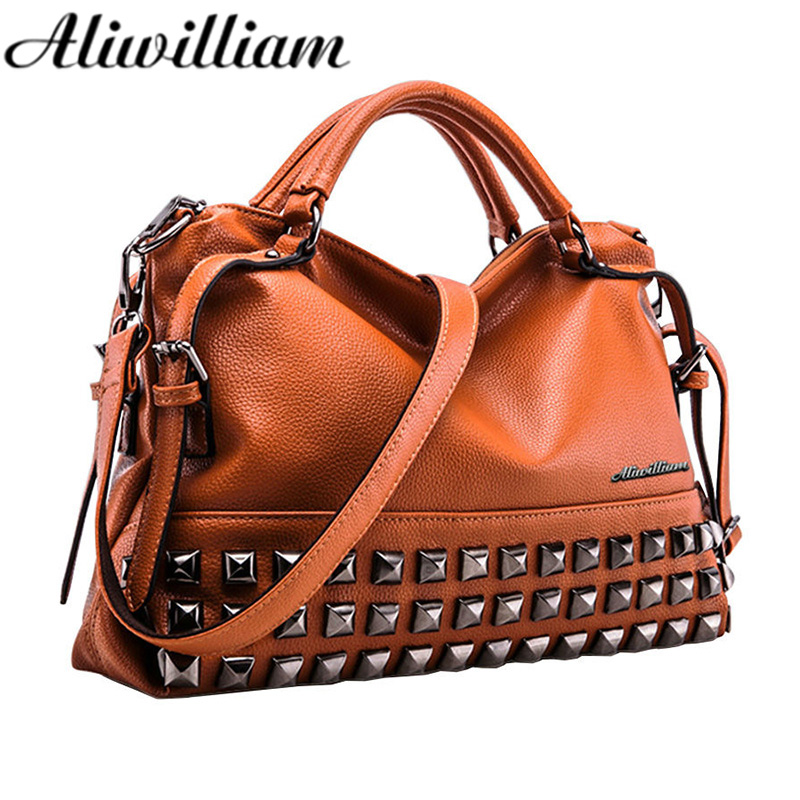 New Rivet Women Leather Handbags Vintage Woman Bags Bag Handbag Fashion Handbags Women Shoulder Bags Leather Pu Tote Bag AL27 classic black leather tote handbags embossed pu leather women bags shoulder handbags elegant