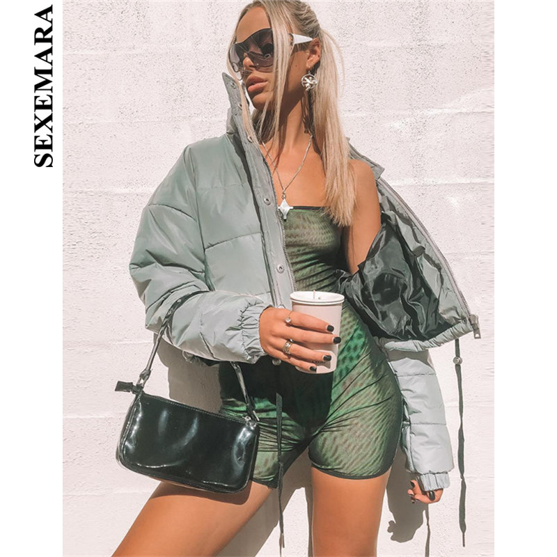 BOOFEENAA Courte Recadrée Épais veste réfléchissante Femmes 2018 Automne Hiver Coupe-Vent Streetwear blousons d'aviateur et Manteaux C87-CA26