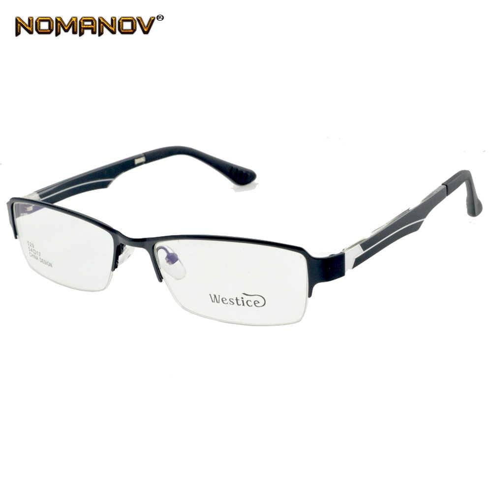 Nomanov = Half-rim Alloy Frame Eyeglasses Custom Made Prescription Myopia / Reading Optical Or Photochromic Gray Brown Lenses