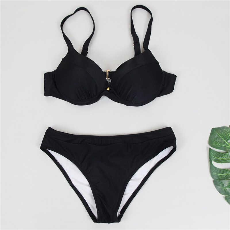 Jednokolorowy damski strój kąpielowy 2019 zestaw bikini push-up wyściełany top strój kąpielowy czarny czerwony stroje kąpielowe Plus rozmiar XXL kostiumy kąpielowe Lady