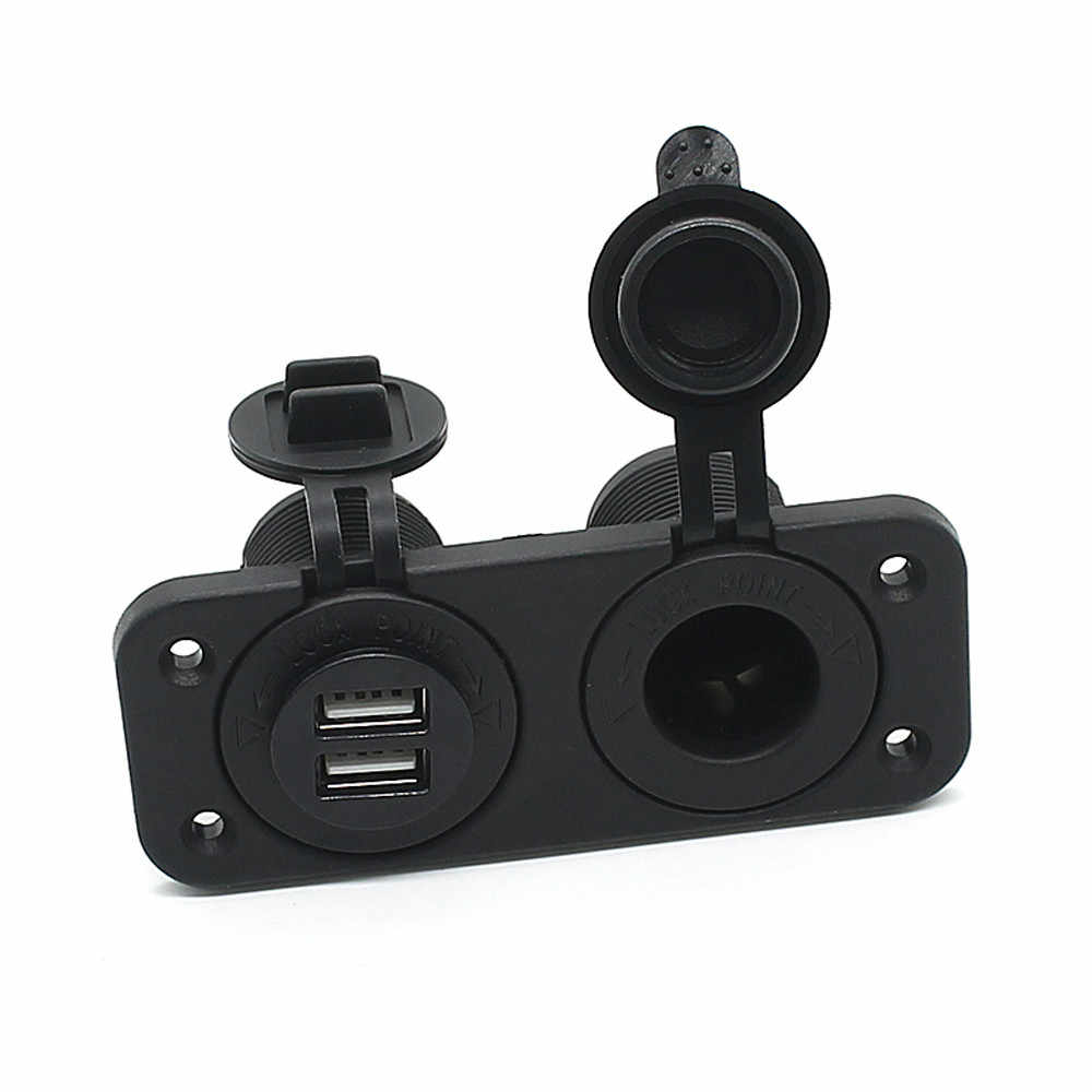 New Dual USB Car Styling Car Cigarettes Charger and Socket Panel Mount Marine 12 Volt Power Outlet Aluminum alloy #G10