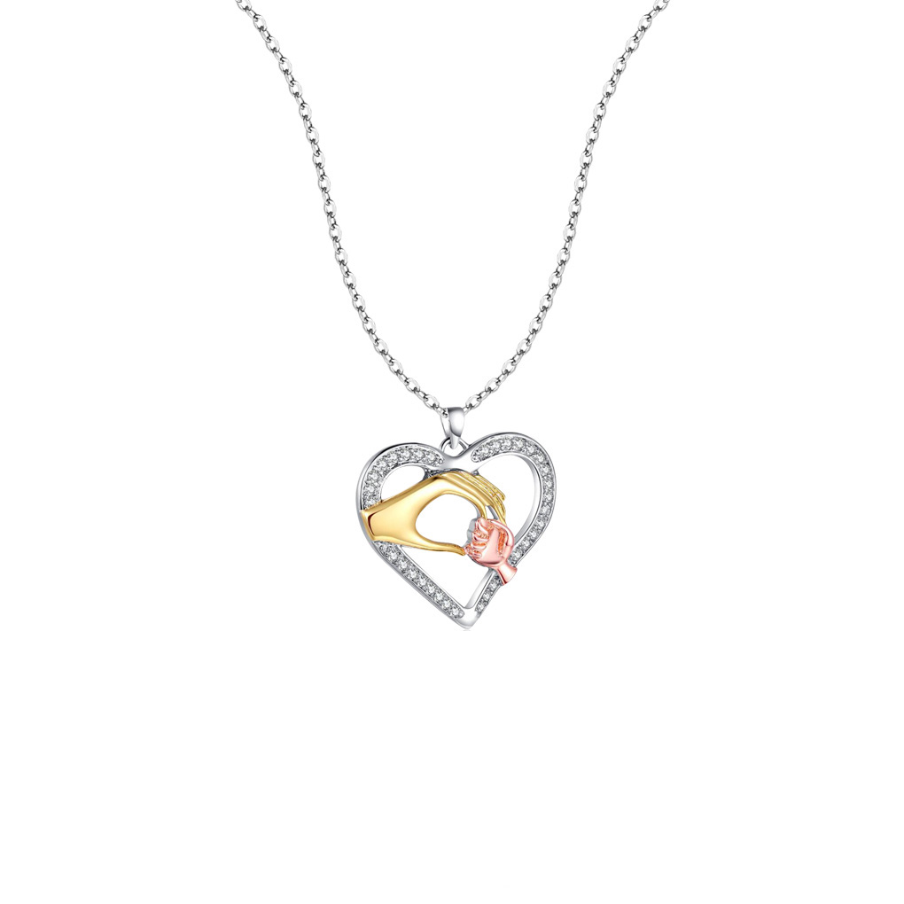 Women Silver Plated Chain Necklace Heart-shaped Big Hand Hold Small Hand Pendants Necklace Jewelry