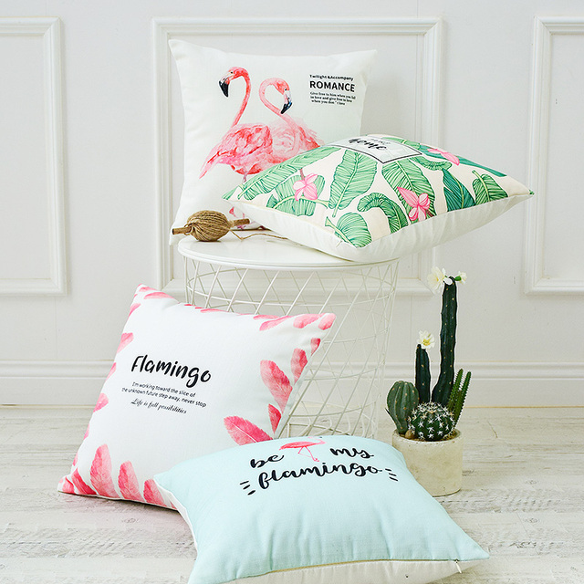 American Flamingo Cotton Linen Pillowcase Small Fresh Sofa Cushion Custom Small Decorative Throw Pillows