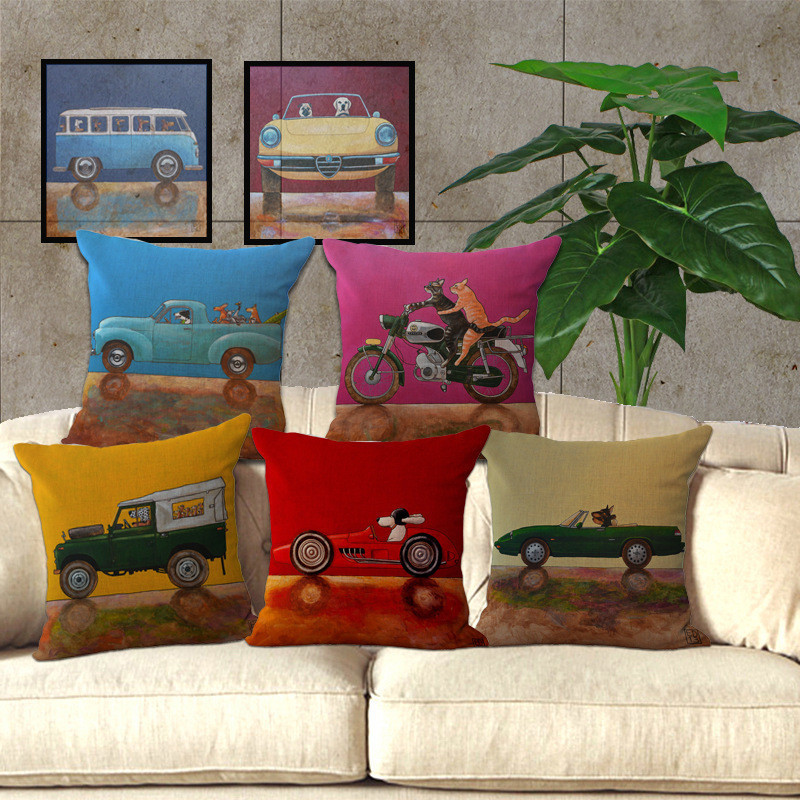 2017 Vintage Cartoon dog driving Car Series Sofa Pillow Cover Cotton Linen home Decorative Cushion Cover 45x45cm fundas cojines