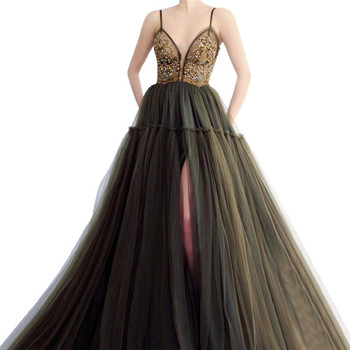 Plus Size Muslim Evening Dresses 2019 A-line V-neck Tulle Beaded Pearls Slit Islamic Dubai Saudi Arabic Long Formal Evening Gown