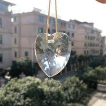Стекло искусство 40 мм Сердце прозрачный кристалл призма люстра часть лампы подвесные Подвески Suncatcher орнамент Декор