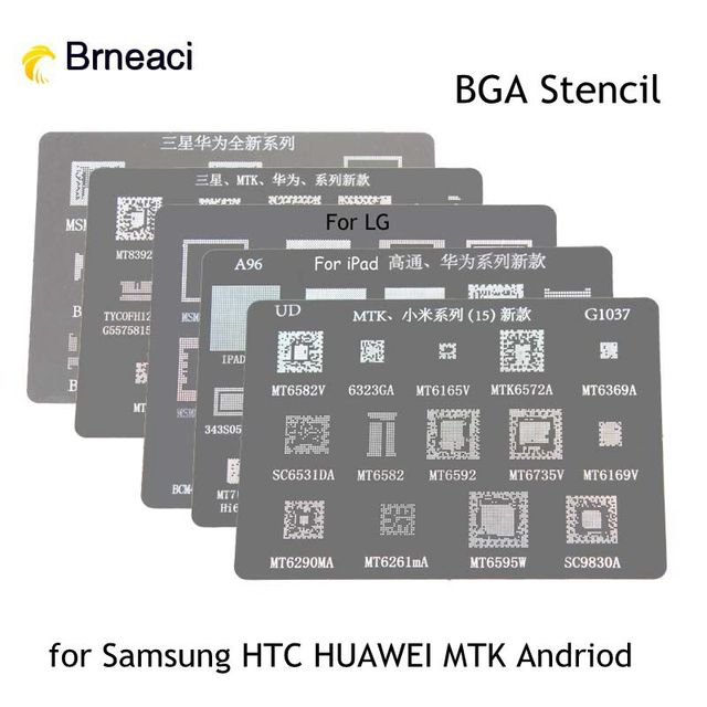 US $4 88 |Brneaci BGA Direct Heating Reballing Stencil tin plate For  Samsung HUAWEI HTC MTK Android Phone IC Chip BGA Reball Stencil Kit -in  Knives