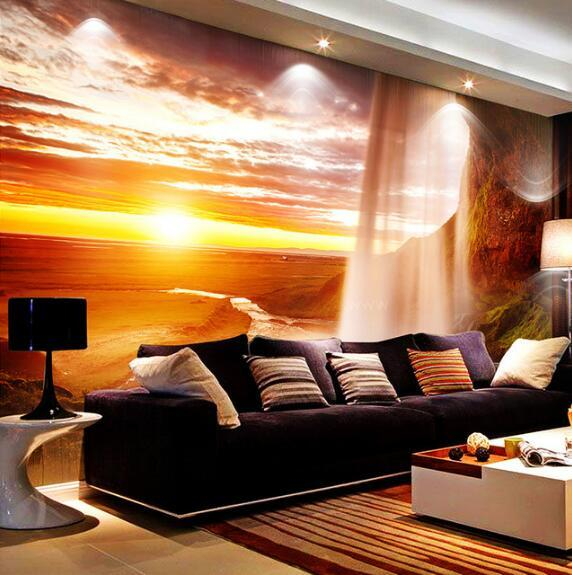 3d sunset mural scenery nature waterfall landscape sun wall living background bedroom setting custom sofa paper zoom tv backdrop wallpapers