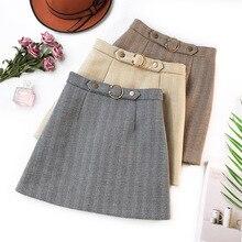Wasteheart Gray Coffee Skirts Women Fashion A-Line Mini Skirt Striped All-match Clothing Plus Size Short Belt Bodycon