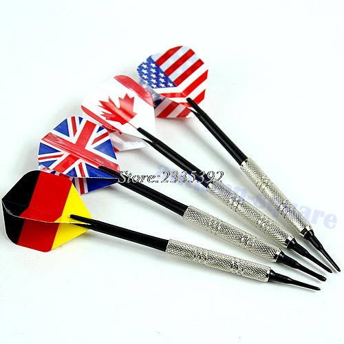 4PCS Dart Brass Soft Tip Bar Darts With Nice National Flags Flights Throwing Toy waugh e put out more flags