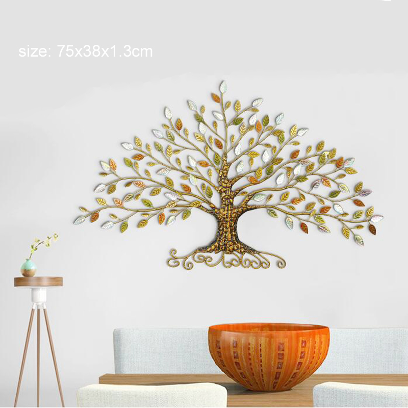 Europe home decoration tree shape wrought iron 3D wall stickers home decor tv background wall decorative 3d iron wall sticker in Wall Stickers from Home Garden