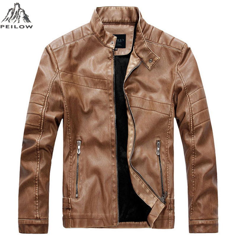 PEILOW winter Jacket Men Brand Windproof Leather Coats Causal motorcycle Vintage PU Leather Jackets male Bomber leather Jacket ...