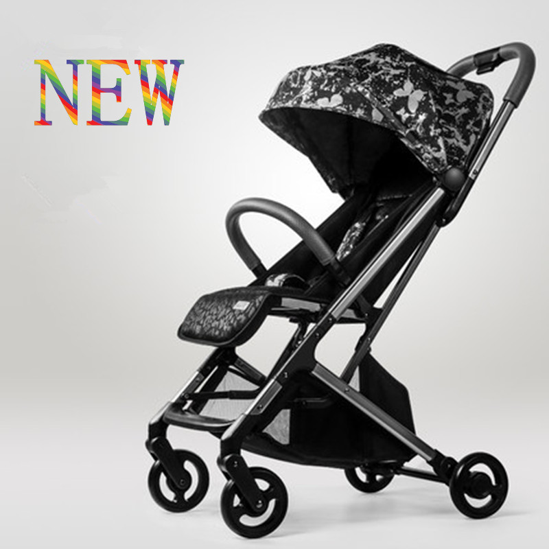Fashion baby stroller lightweight folding portable can sit/lie super light high-view 3D breathable fabric cushion baby carriage ...