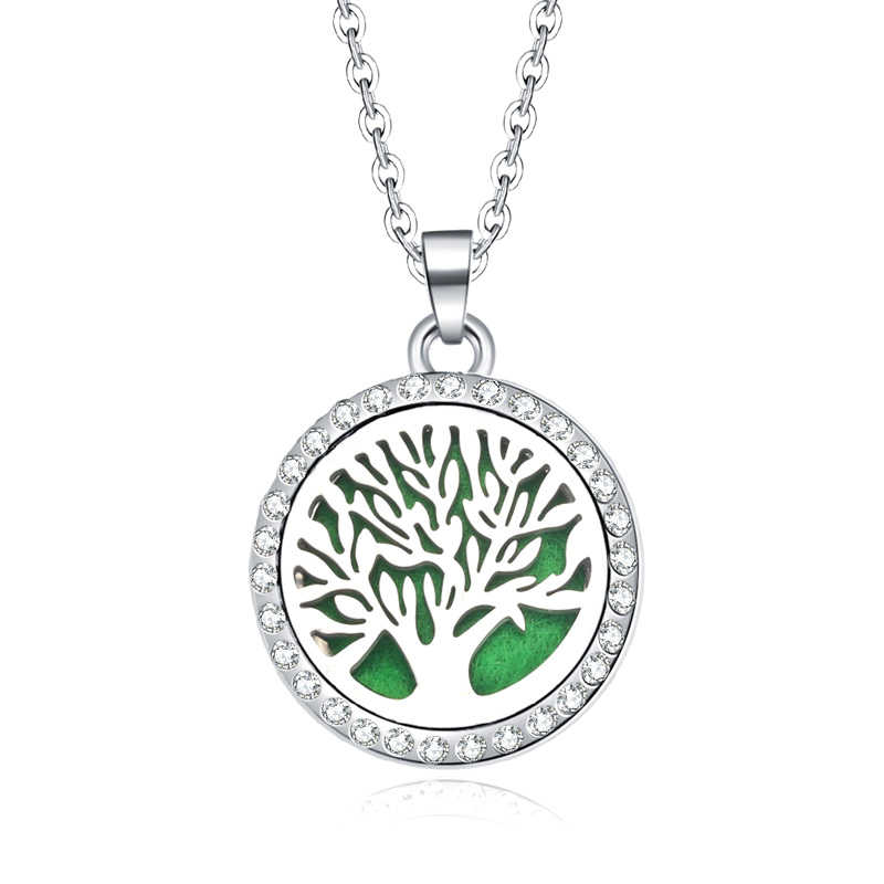 Tree Of Life Aroma Box Jewelry With rhinestone Aromatherapy Essential Oil Diffuser Perfume Box Lockets Pendant Necklace