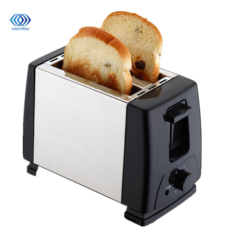Household Automatic Bread Toaster Baking Breakfast Machine Stainless steel 2 Slices Slots Bread Maker 230V 750W EU Plug stainless steel household portable electric toaster breakfast machine automatic bread baking maker fried eggs boiler frying pan