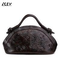 ICEV New Designer Handbags High Quality Genuine Leather Handbags Flower Women Leather Doctor Bags Handbags Women