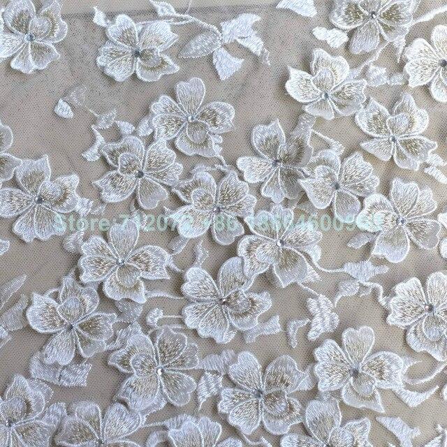 Gold weiß gemischte farbe meatllic steine 3D blumen spitze stoff 130 ...