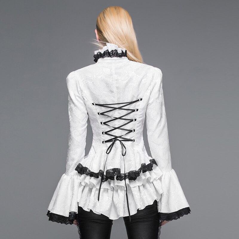 Col Manches Flare Chemise Victorienne Rétro Noir Gothique blanc Montant Long Femmes Noir Blouse Sht01701 blanc 4Tzwq8
