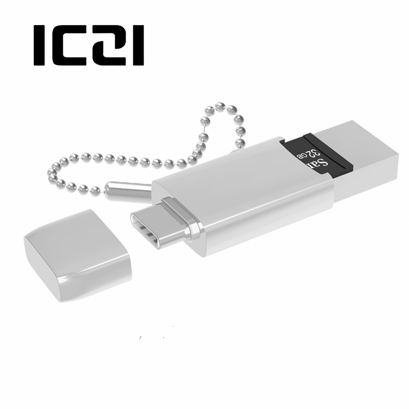 ICZI 2 in 1 TF Micro SD Card Reader USB C USB 3 0 OTG Adapter