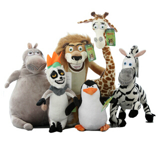 Wholesale Madagascar plush toys lion zebra giraffe monkey Penguin hippo 6pcs/set children gifts free shipping