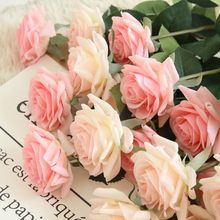 10 Pcs Real Touch Branch Stem Latex Rose Hand Feel Felt Simulation Decorative Artificial Silicone Flowers Home Wedding