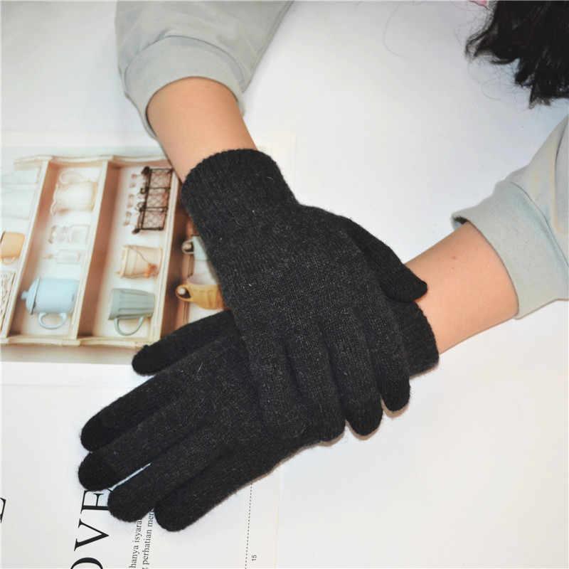 Inverno Touch Screen Guanti Donna Uomo Warm Stretch Knit Guanti Imitazione di Lana Guanti Pieni della Barretta Del Crochet Femminile Guanti Mujer