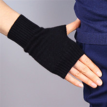 Pure Cashmere Gloves Wool Semi-Finger Fingerless Autumn Winter Black Short Style Flexibility Knitted Woman TB101