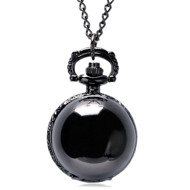 Steampunk Black Antique Vintage Round Ball Pocket Watch Men Women Simple Smooth Pendant Gift With Necklace Chain black smooth steampunk pocket watch stainless steel pendant 30cm chain with box p200c w