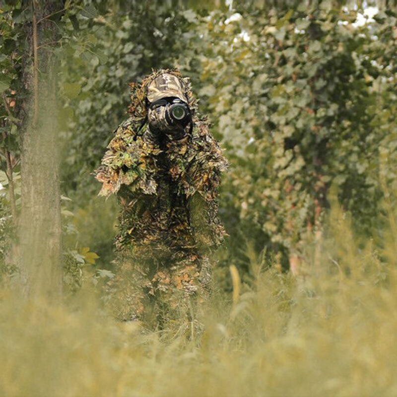 4580b03796b2b Cheap Wholesale Anti Infrared Outdoor Hunting Camouflage Clothing Coat And Pants  3D Maple Leaf Bionic Hunting Clothes Suit-in Hunting Ghillie Suits from ...