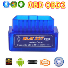 цена на OBD2 OBD ii Wireless V2.1 Super Mini ELM327 Bluetooth Interface Car Scanner Diagnostic Tool ELM 327 For Android Torque Windows