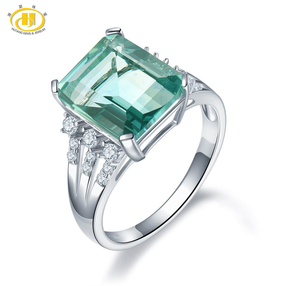 HUTANG 12x10mm Fluorite Wedding Rings Natural Gemstone Topaz 925 Sterling Silver Cocktail Ring Fine Jewelry for Women Gift NewHUTANG 12x10mm Fluorite Wedding Rings Natural Gemstone Topaz 925 Sterling Silver Cocktail Ring Fine Jewelry for Women Gift New