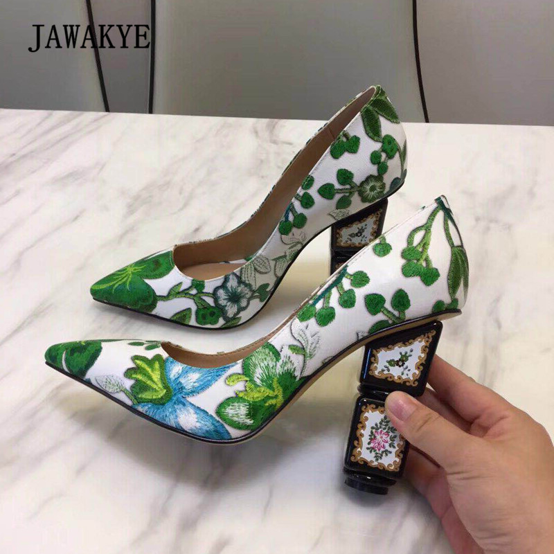2018 Green Embroidered Strange Heel Shoes Women Pointed Toe Flower Pumps Lady Fashion Wedding Shoes 2018 Green Embroidered Strange Heel Shoes Women Pointed Toe Flower Pumps Lady Fashion Wedding Shoes