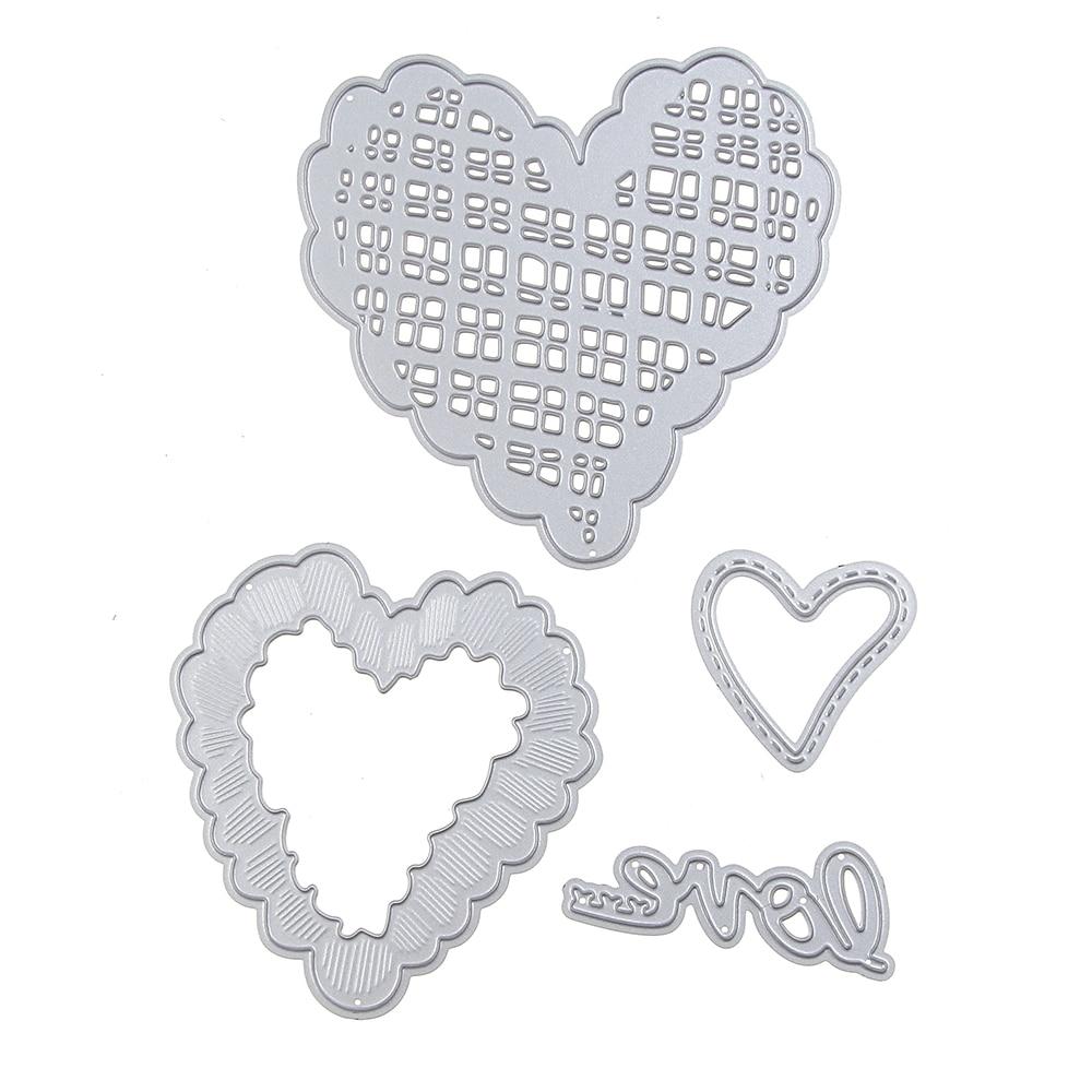 81*79mm scrapbooking DIY 3pcs lace love Sharp Metal steel cutting die flower Shape Book photo album art card Dies Cut