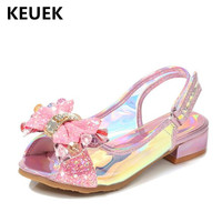 New Summer Sandals Girls Children Shoes Baby Rhinestone High heeled Student Performance Crystal Shoes Kids Sandals Toddler 02