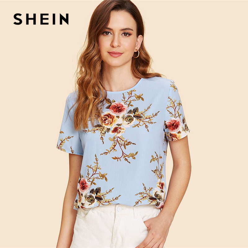 ff0a9edaaa SHEIN Blue Elegant Round Neck Short Sleeve Floral Print Button Regular Fit  Blouse Summer Women Weekend
