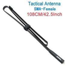 ABBREE sma kadın VHF UHF çift bant 144/430Mhz katlanabilir taktik anten Walkie Talkie Baofeng UV 5R UV 82 Kenwood TK 3207