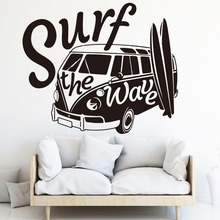 Surf The Wave Camper Car Wall Sticker Bedroom Nursery Vehicle Surfboard Summer Beach Decal Kids Room Vinyl Art