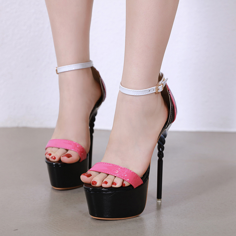 High Heels 16cm Platform Sandals Peep Toe Cross Pumps Patent Leather Shoes For Woman Customized With