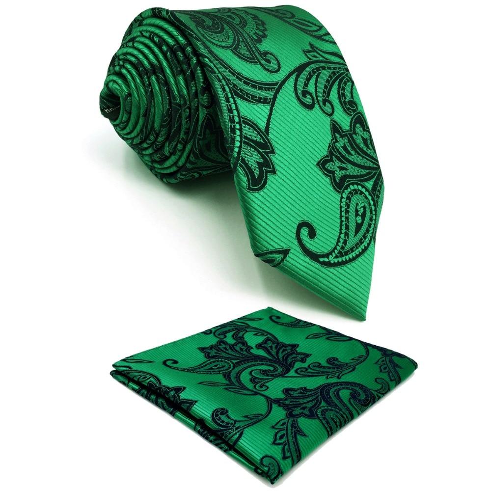 E5 Green Paisley Silk Mens Necktie Wedding Fashion Hanky Ties for male Novelty Groom Accessory
