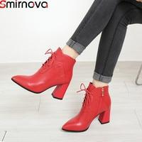 Smirnova/размеры 34–42 модные с острым носком на молнии на шнуровке Обувь на высоком каблуке ботильоны женские натуральная кожа для выпускного ж