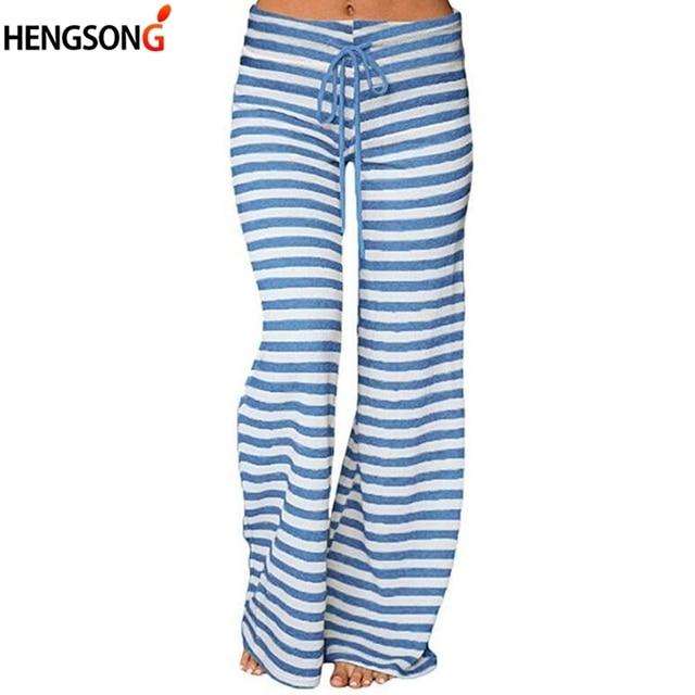 7480c23e18e7 2018 Fashion Summer Wide Leg Pants Women High Waist Striped Loose Palazzo  Pants Elegant Office Ladies Trousers