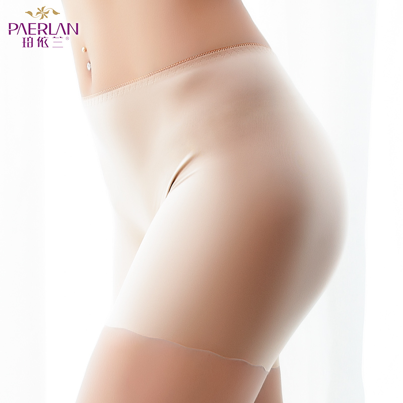 PAERLAN summer Seamless comfor Boyshort Mid - Rise ice silk a piece of buttock sexy anti-walking Solid bottom pants Women   Pantie