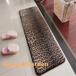 House Memory Foam Bath Mats Slip Resistant Water Absorbing Doormat Leopard Print Carpet