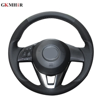GKMHiR DIY Hand stitched Black Genuine Leather Car Steering Wheel Cover for Mazda 3 Mazda 5 Mazda 6 2003 2009