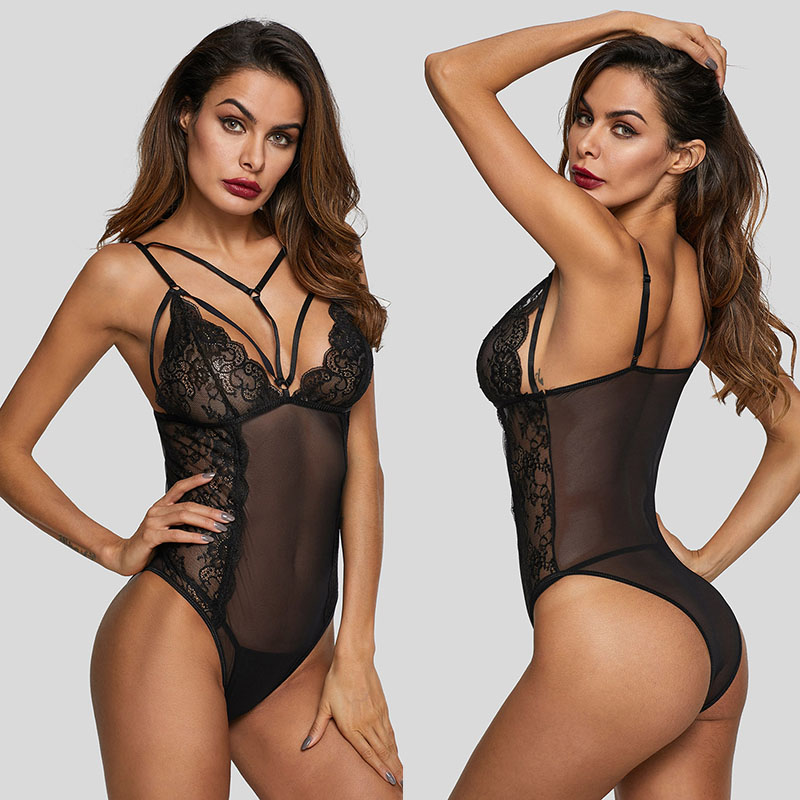 SEBOWEL Sexy Black Sheer Strappy Mesh Bodysuits Woman Summer Sleeveless Lace Perspective Body Top Clothes for Female Bodysuit in Bodysuits from Women 39 s Clothing