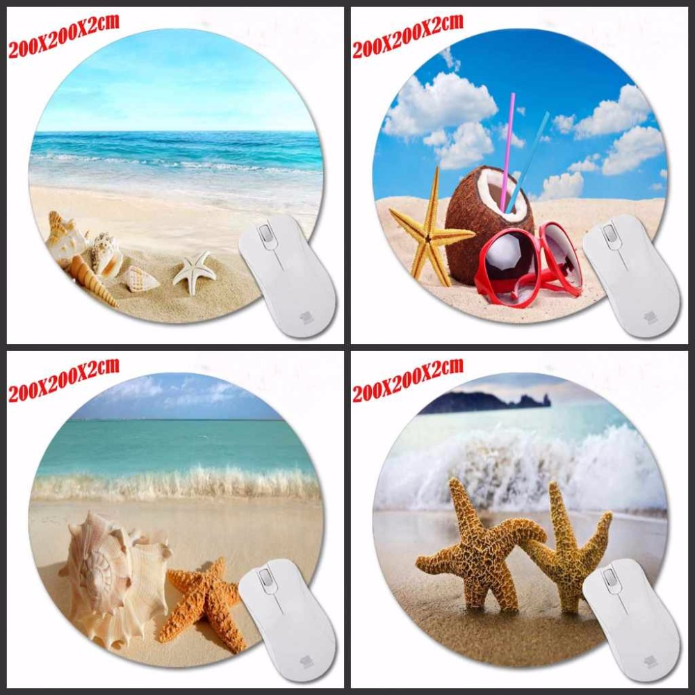 Beach shell Luxury Printing Custom Design Durable Game Gaming PC Anti-slip Mouse Mat NO Overlock Mouse Pad and Round Mouse Pad